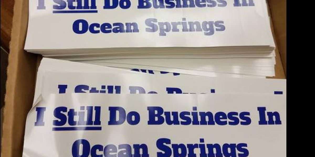 Bumper stickers show support for Ocean Springs businesses amid flag battle