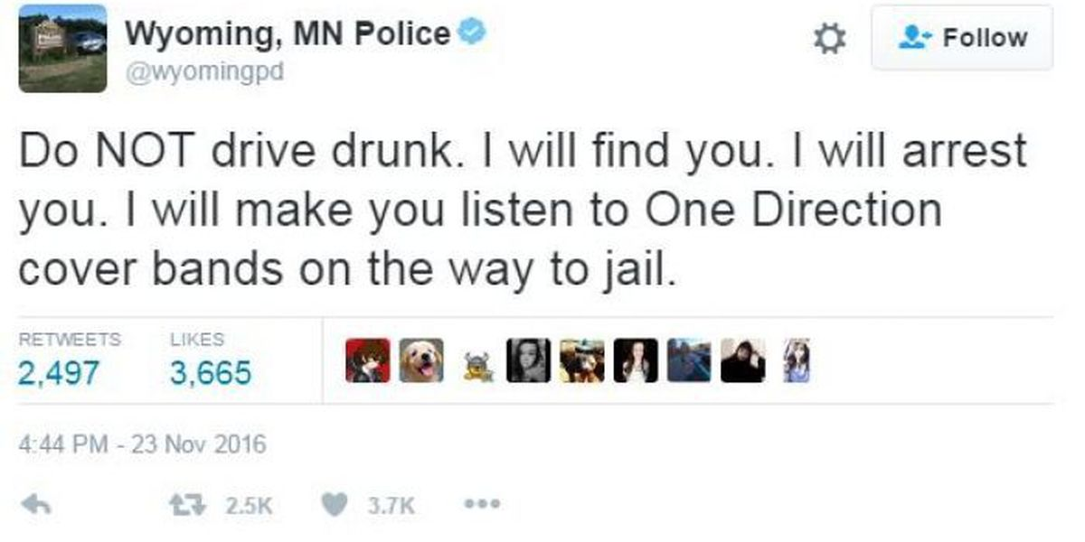 Wyoming PD tweets impaired driving warning
