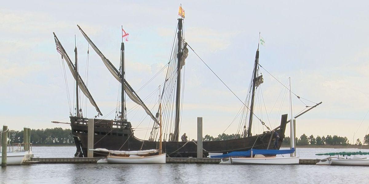 Replica ships of Columbus' Nina and Pinta now docked in Biloxi