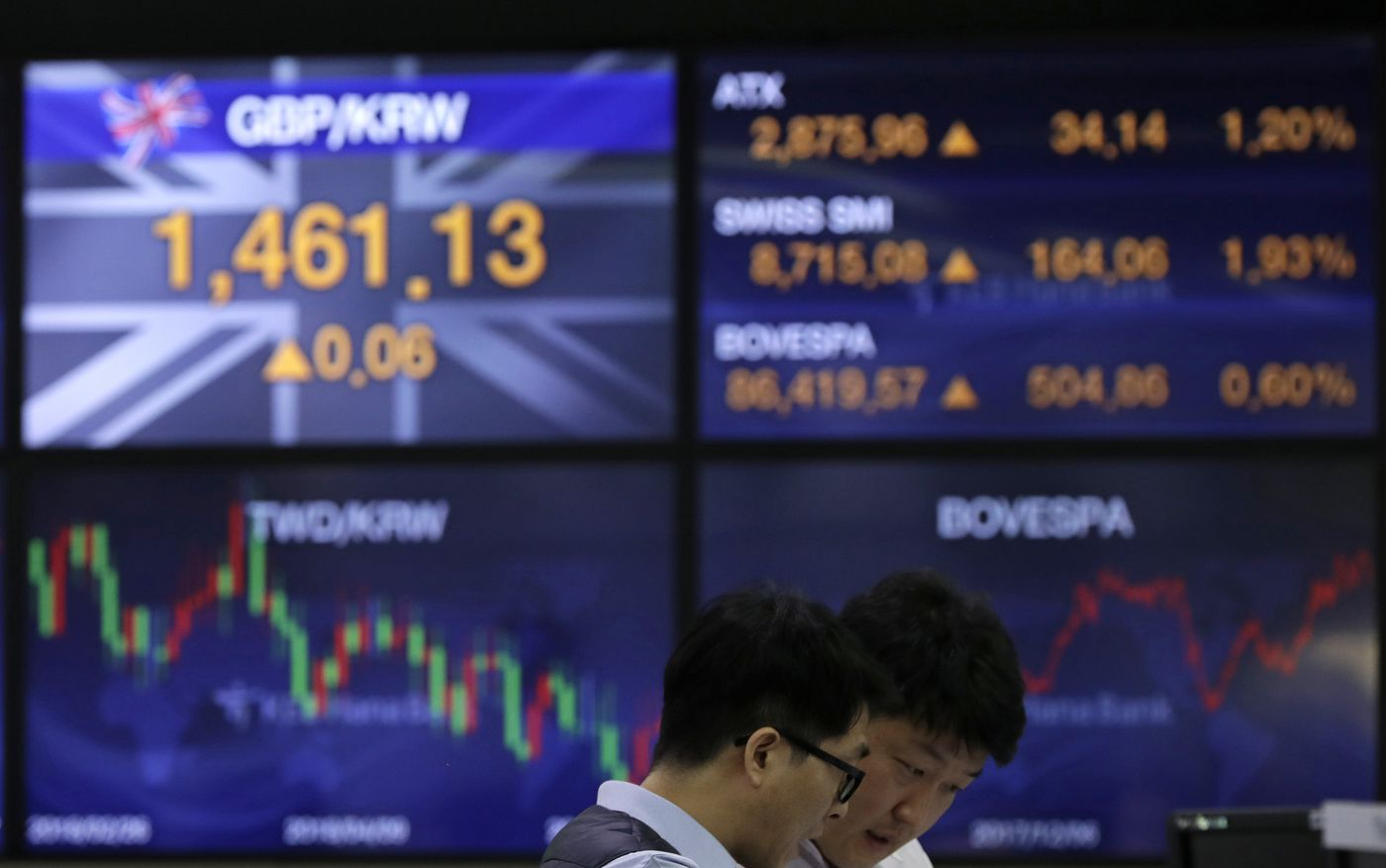 Currency traders talk near the screens showing the foreign exchange rates at the foreign exchange dealing room in Seoul, South Korea, Wednesday, Dec. 12, 2018. Asian shares rose Wednesday amid hopes for U.S.-China trade talks.(AP Photo/Lee Jin-man)