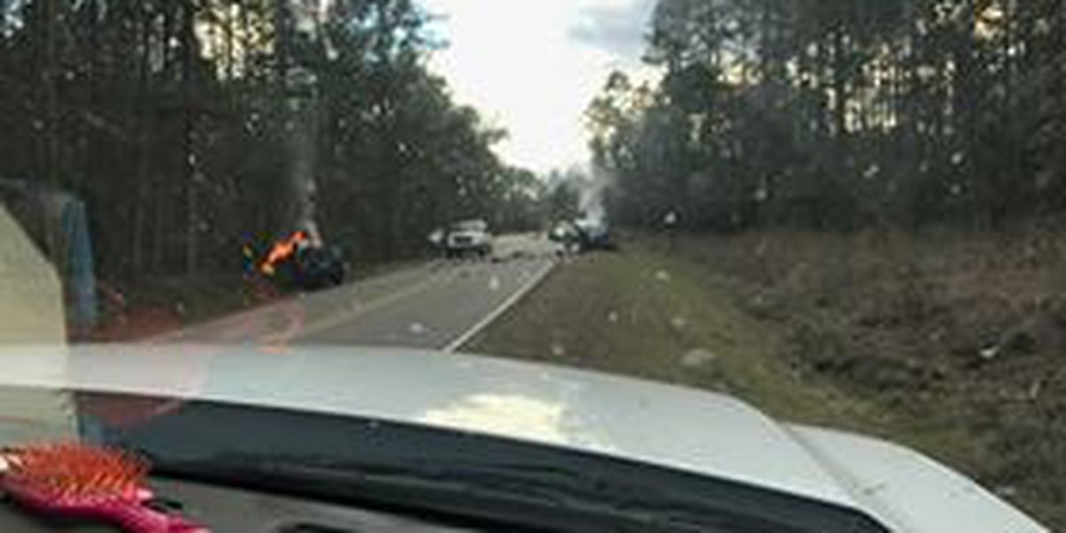 One person dead after car bursts into flames in head-on collision on Old Hwy 26