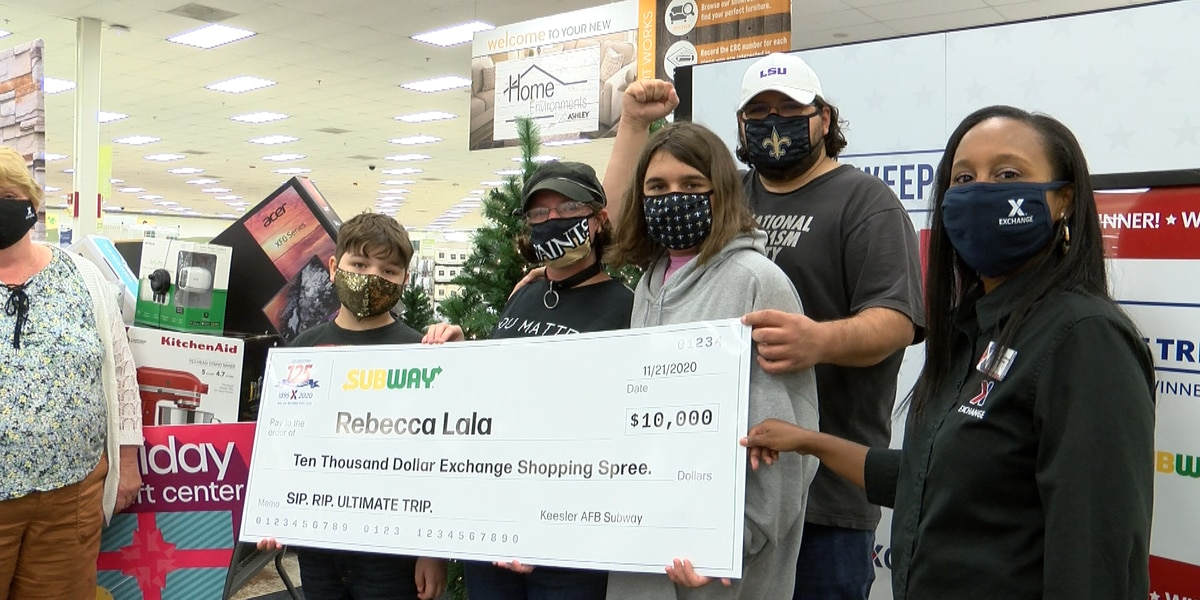 Air Force family wins $10,000 Exchange shopping spree from a Subway sweepstakes