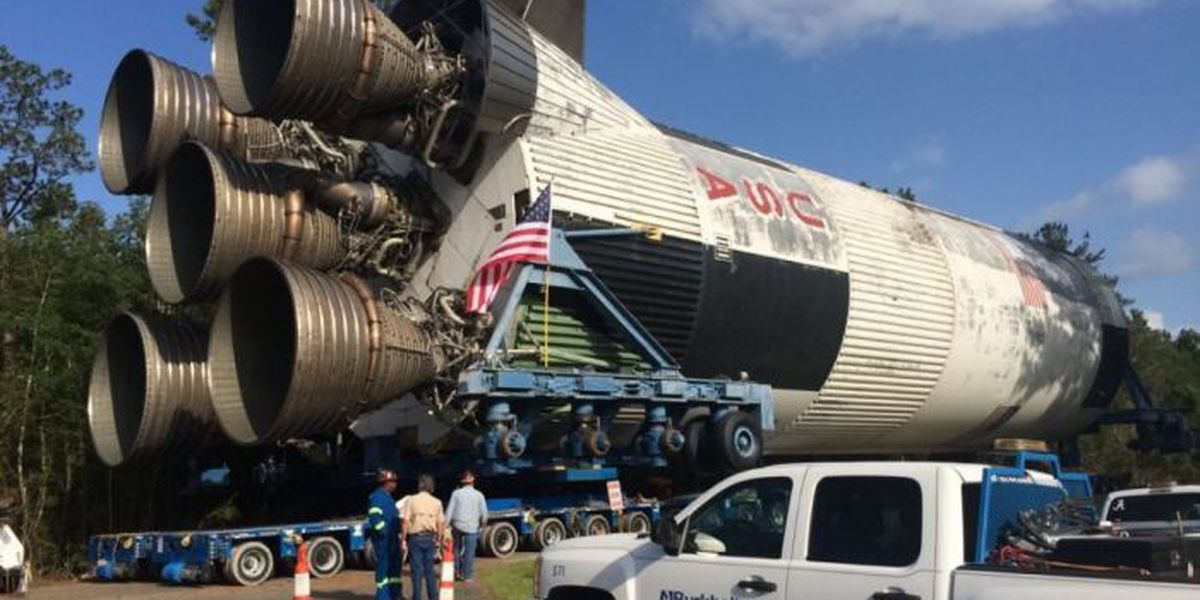 Rocket booster makes its way to INFINITY Science Center; shuts down I-10