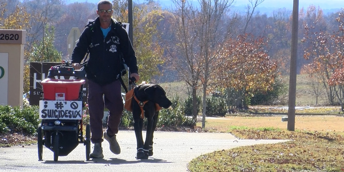 Man walks across the country to raise awareness about suicide