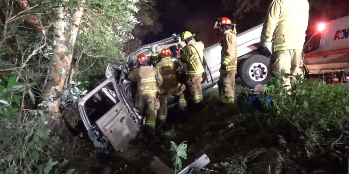 One injured in overnight accident after truck crashes into tree