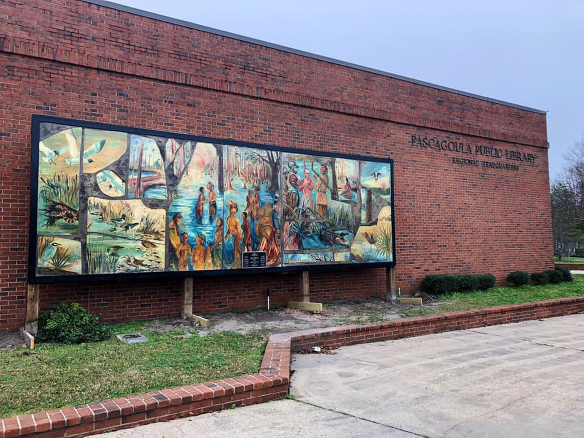 Mural gets permanent location at Pascagoula Public Library