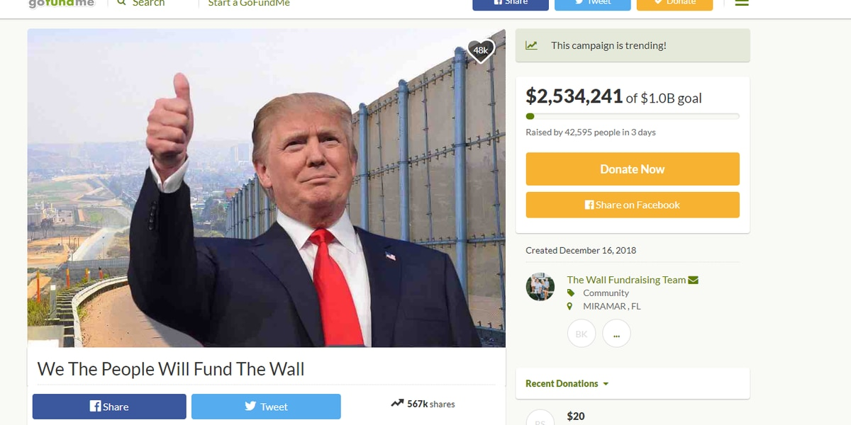 GoFundMe for Pres. Trump's wall raises almost $11 million in 4 days