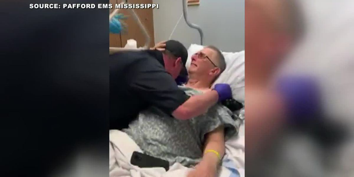 Father becomes emotional after son surprises him in hospital room