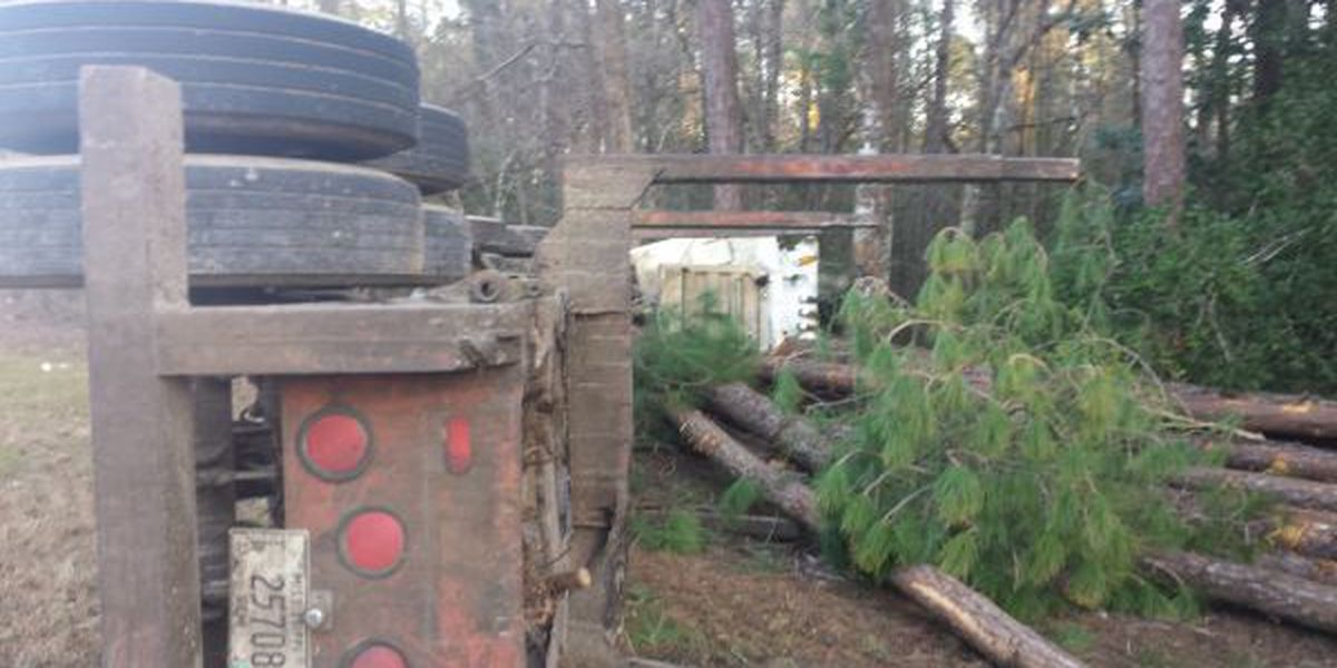 Truck hauling logs overturns in Hancock County