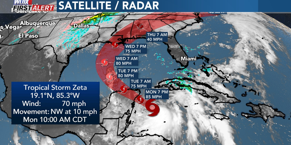 Zeta almost a hurricane. Tropical watches or warnings may be issued later today.
