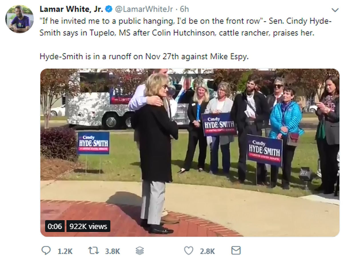 Mississippi senator Cindy Hyde-Smith releases statement on 'public