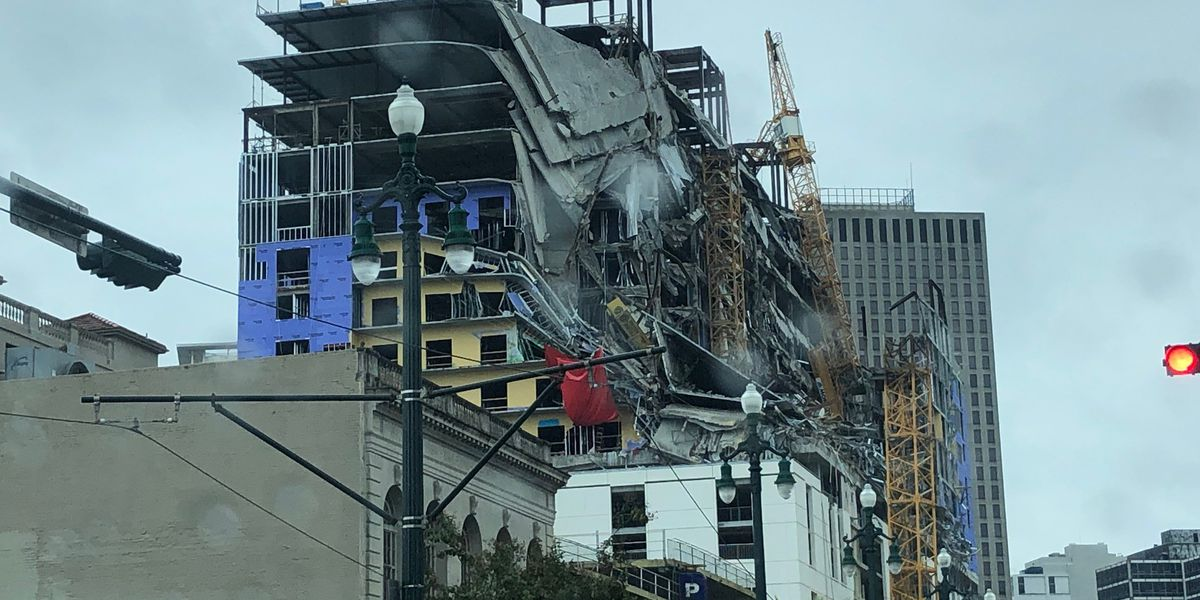 Equipment begins moving into place at Hard Rock collapse site; 3 adjacent buildings to come down