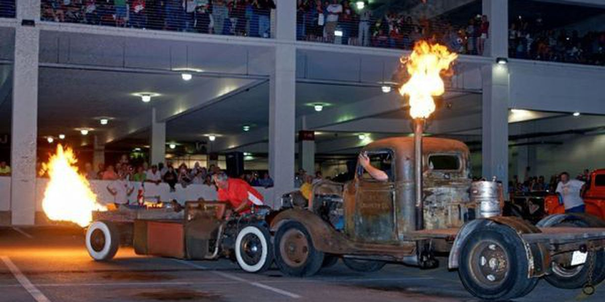 Thousands arrive early for Tuesday night's Flame Throwing Competition at Island View