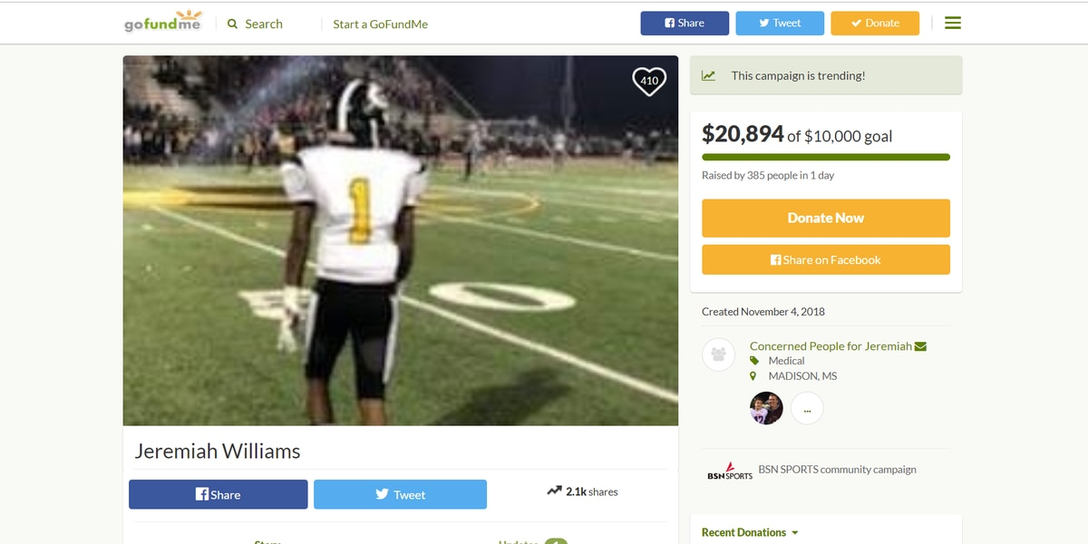 GoFundMe page setup to help injured Greenville football player