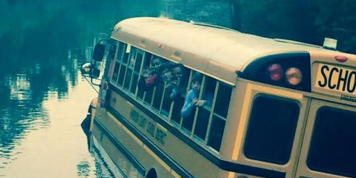 School bus stalls in Biloxi flood waters