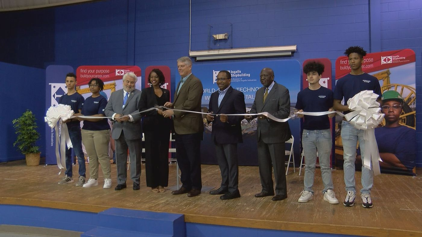 Huntington Ingalls cut the ribbon Tuesday morning on its newest Shipbuilder Academy outpost, which is located in the old Gaston Point Elementary School.