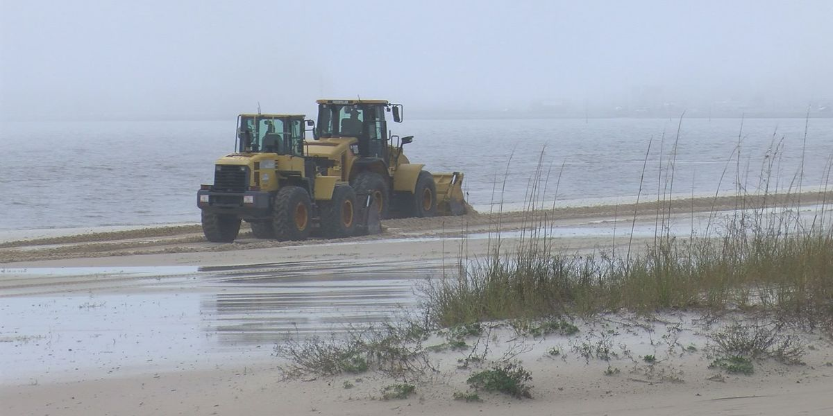 Storms batter the beach in Harrison County