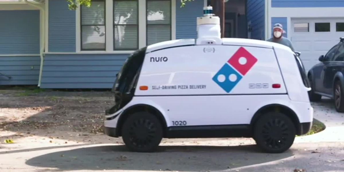RAW: Domino's robot delivers pizza