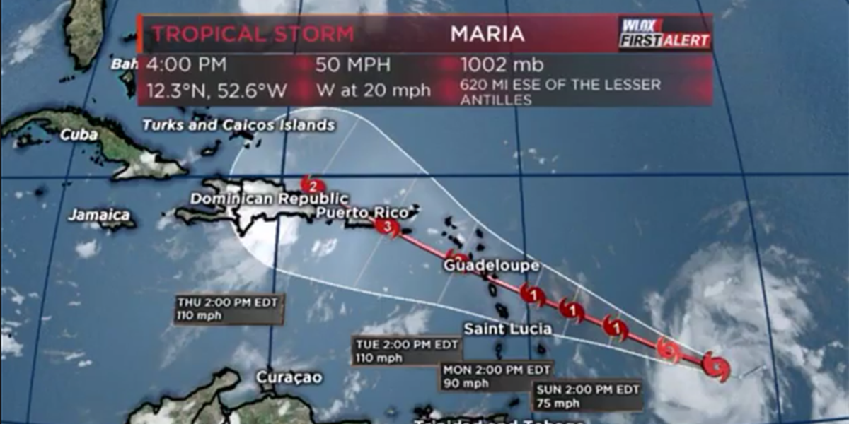 T.S. Maria forms, to hit Leeward Islands as a major hurricane