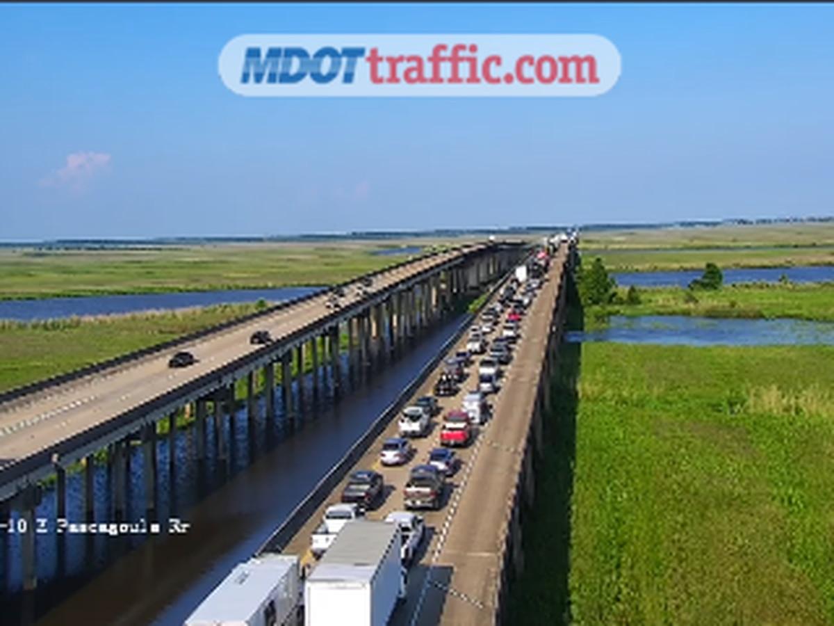 Traffic backed up on I-10 in Hancock County, Louisiana