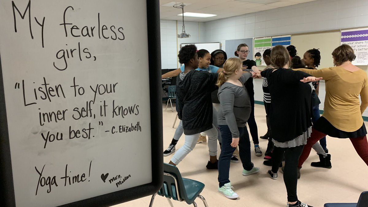 Three Rivers Elementary's 'fearless' girls practice self-care through yoga