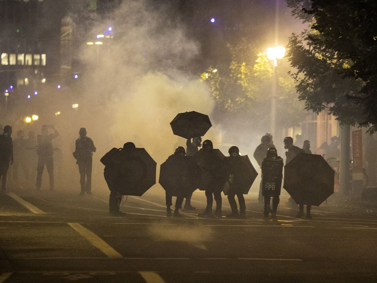 After wildfire smoke clears, protests resume in Portland