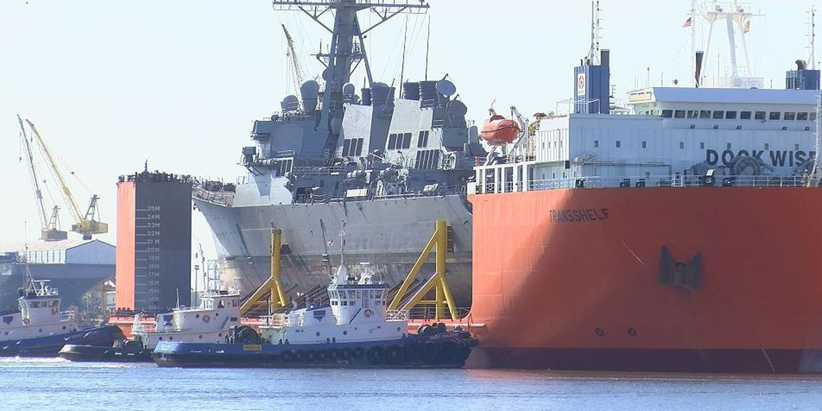 USS Fitzgerald welcomed to new home in Pascagoula