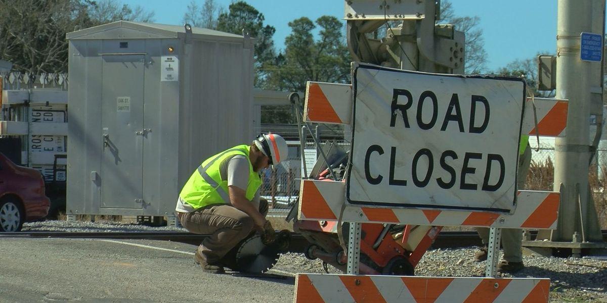 Work on Oak Street rail crossing in Biloxi to continue through Thursday