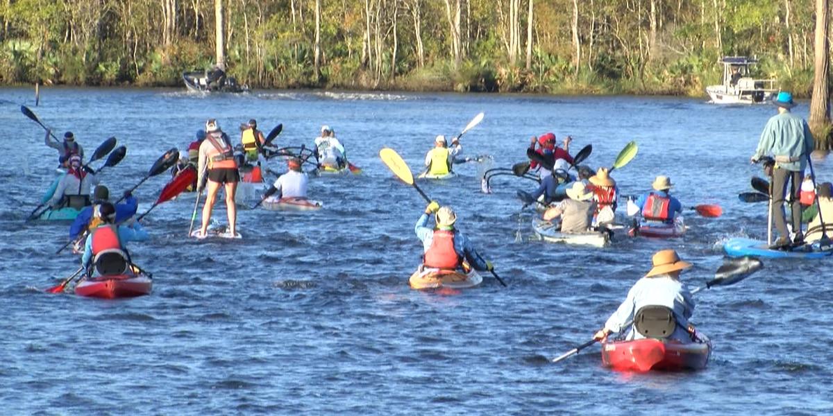 Dozens of kayakers hit the Pascagoula River racing 12.5 miles