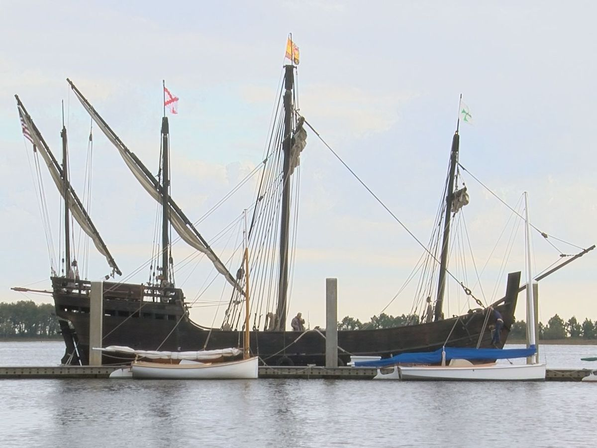 Replica ships of Columbus' Nina and Pinta now docked in Biloxi