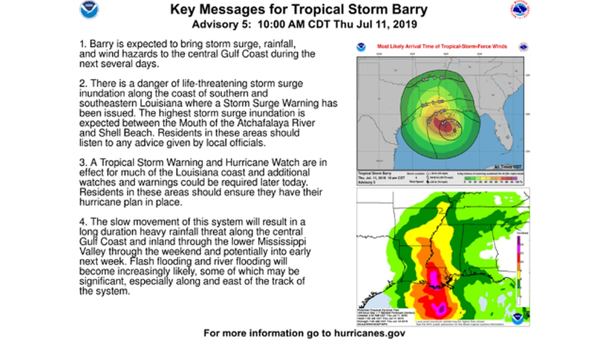 MEMA coordinating preparations for Tropical Storm Barry