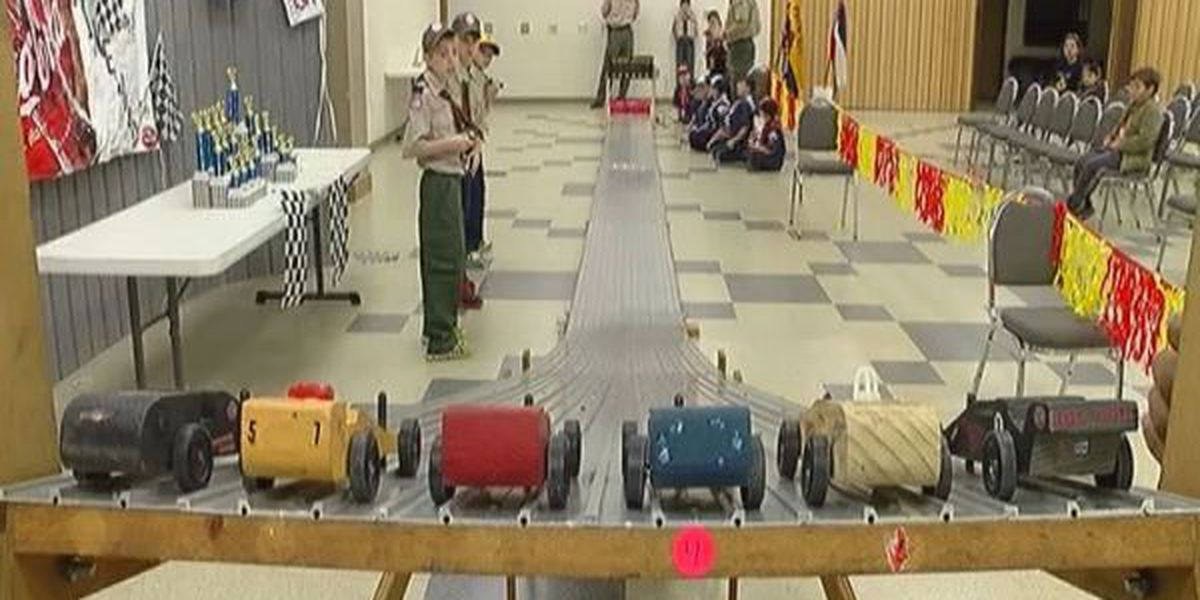 Scouts compete for the fastest time in annual Pinewood Derby