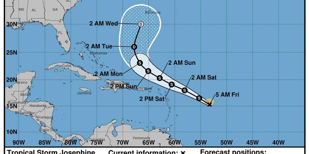 Tropical Storm Josephine closer to land, Kyle moving away