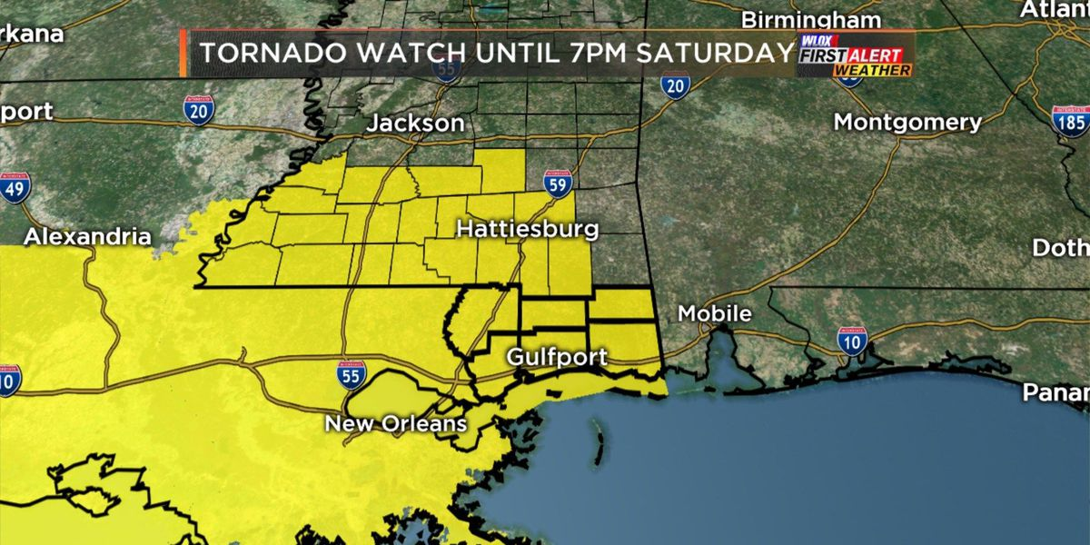 South MS under tornado watch until Saturday evening