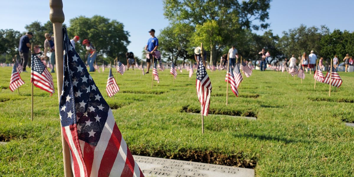 23,000 flags placed at the Biloxi National Cemetery for Memorial Day
