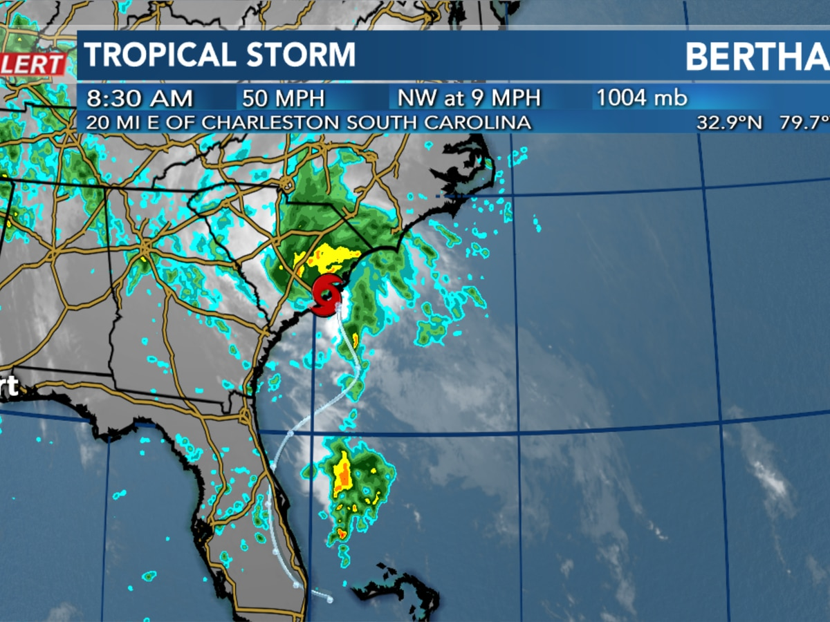 Tropical Storm Bertha forms near South Carolina