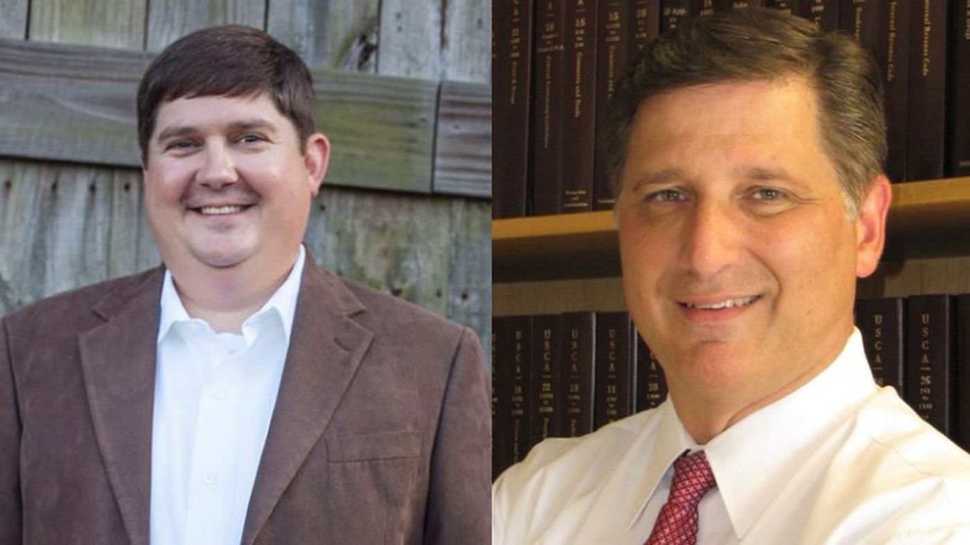 Jeremy England, pictured left, inched ahead in the District 51 State Senate race, beating Moss Point alderman Wayne Lennep by 38 votes.
