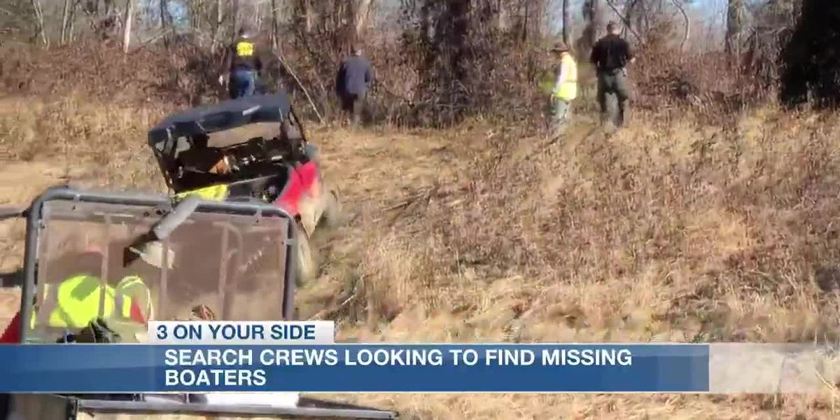 Warren Co. officials search on land and water for two missing duck hunters after their boat was found overturned