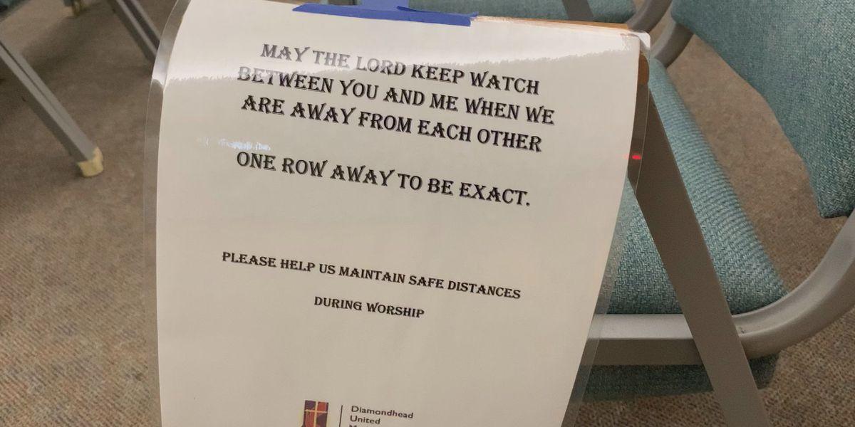 Churchgoers brave wind, rain for reopening of Diamondhead United Methodist