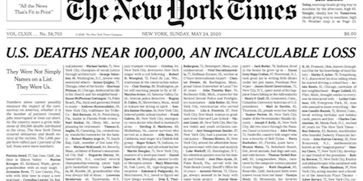 NY Times publishes names of lives lost to virus on front page