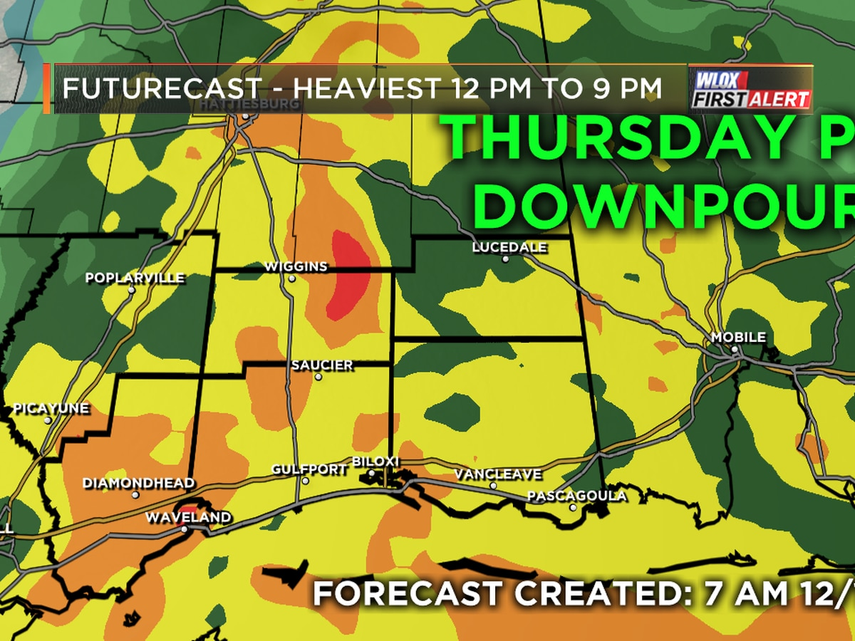 Afternoon showers, heavy downpours likely across South Mississippi on Thursday