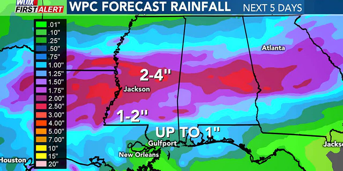 Heavy rain expected for parts of Mississippi this week