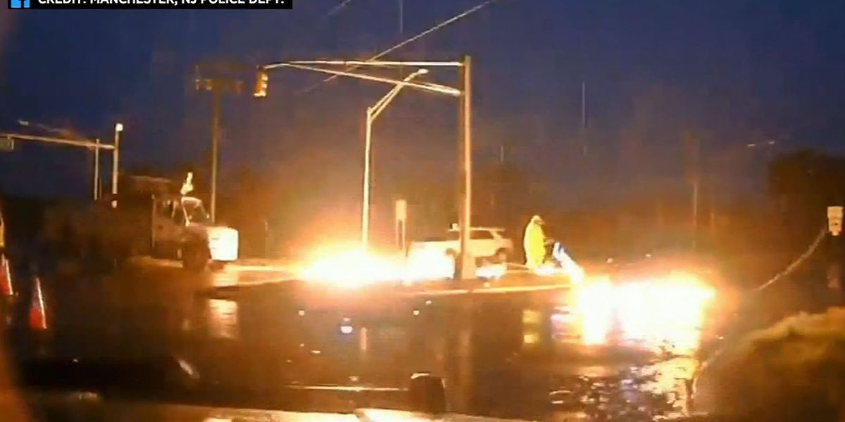 Video shows utility worker narrowly escape death when downed wire bursts into flames