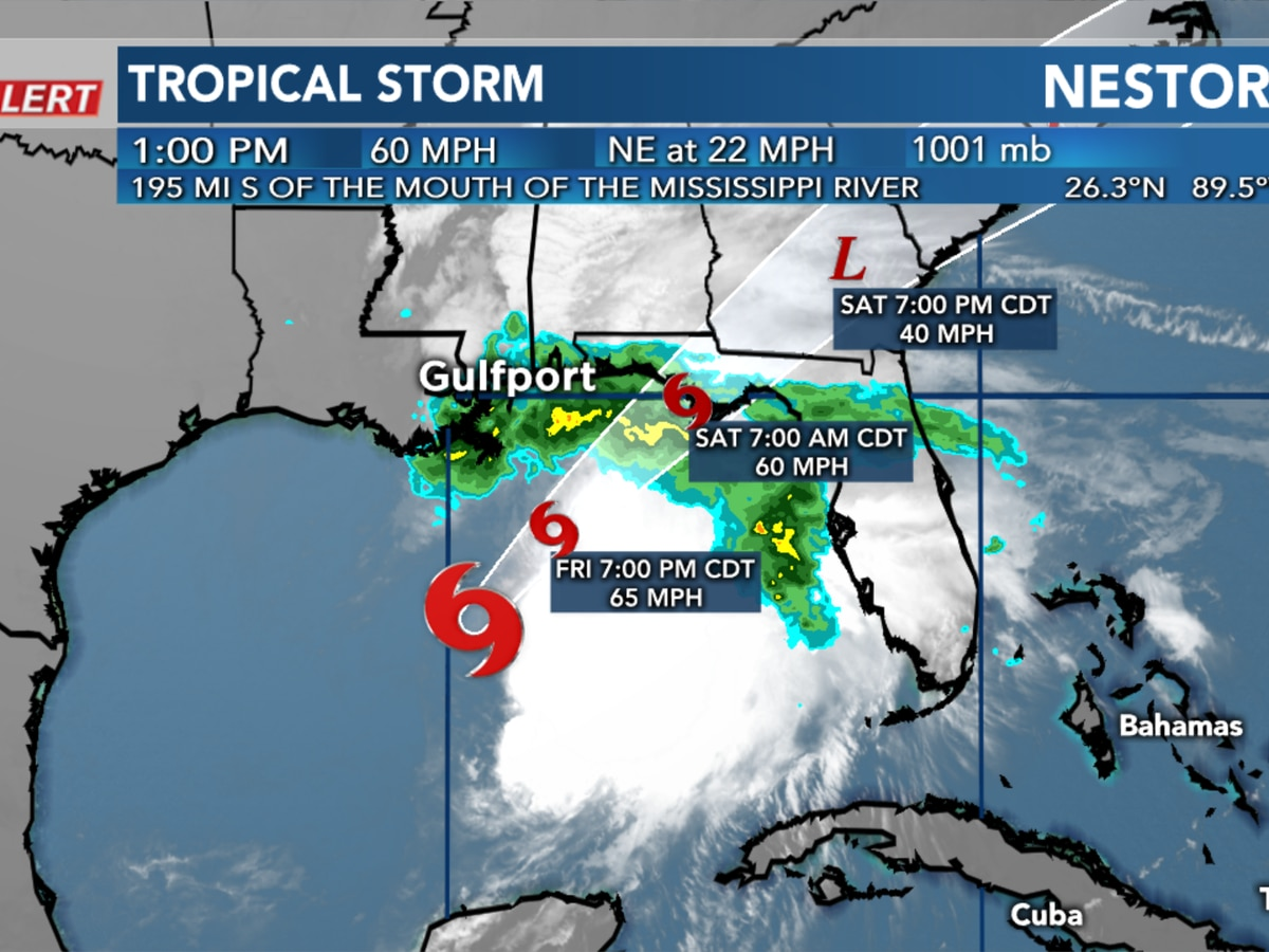 The 14th tropical storm of the season, Nestor, forms in the Gulf