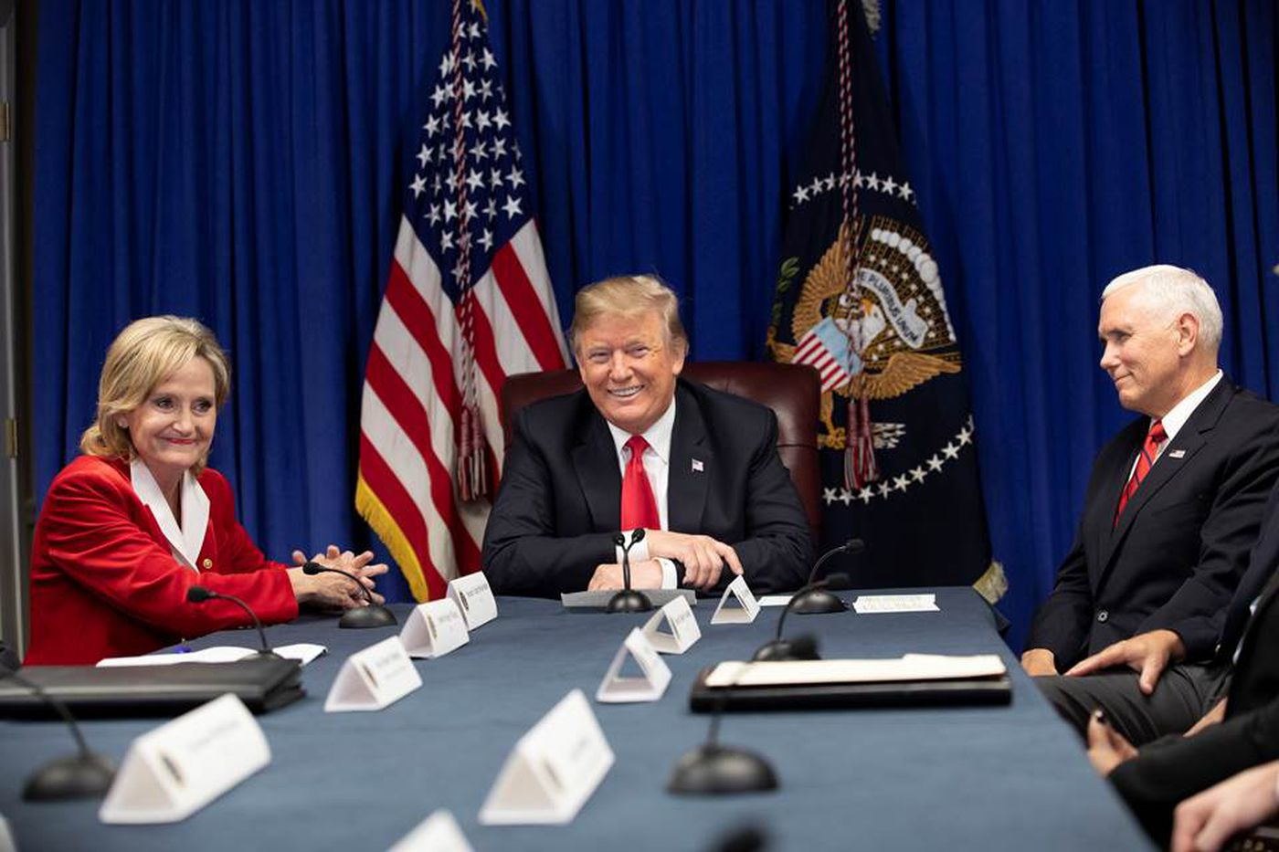 President Donald J. Trump, joined by Vice President Mike Pence and U.S. Senator Cindy Hyde-Smith, R-Miss., participates in the First Step Roundtable with Mississippi Gov. Phil Bryan and law enforcement leaders Monday, Nov. 26, 2018, at the Mississippi Coast Coliseum in Biloxi, Miss. (Official White House Photo by D. Myles Cullen)