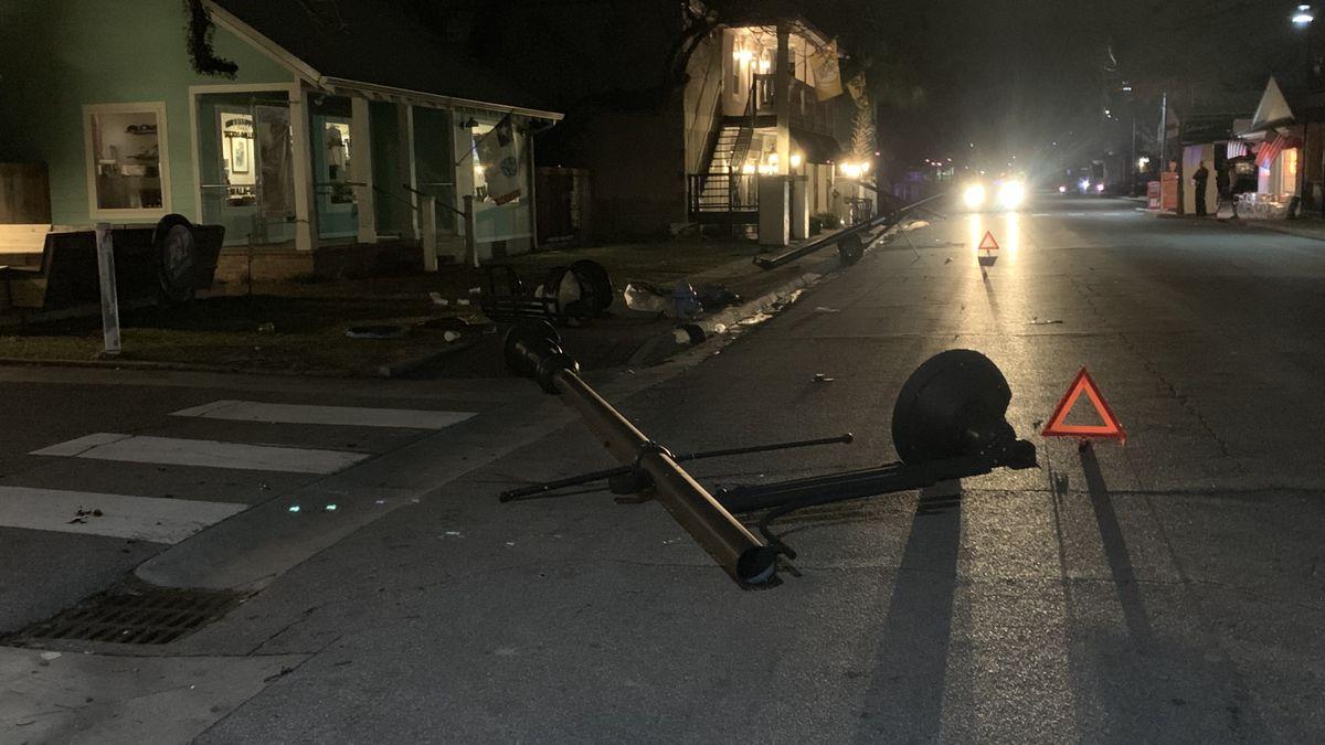 Vehicle leaves trail of damage in downtown Ocean Springs