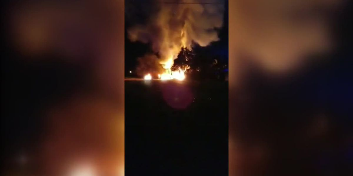 VIDEO: Flames now out after large house fire in Biloxi spreads to nearby home