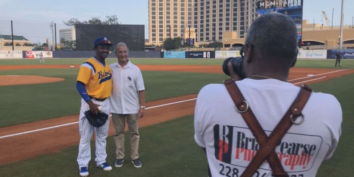 A.J. Giardina throws out a Shuckers ceremonial first pitch