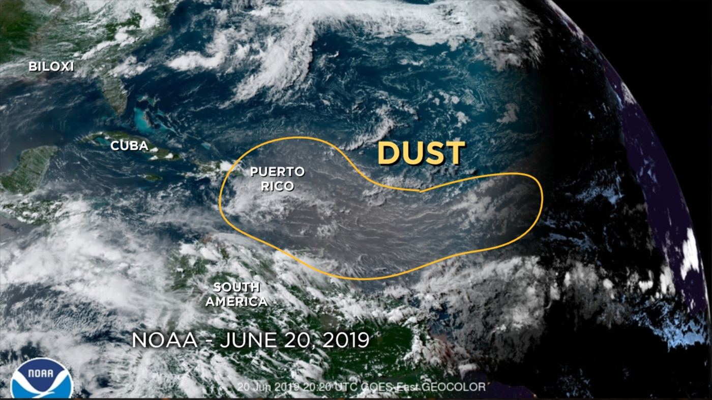 Large plume of Saharan dust to make for hazy skies