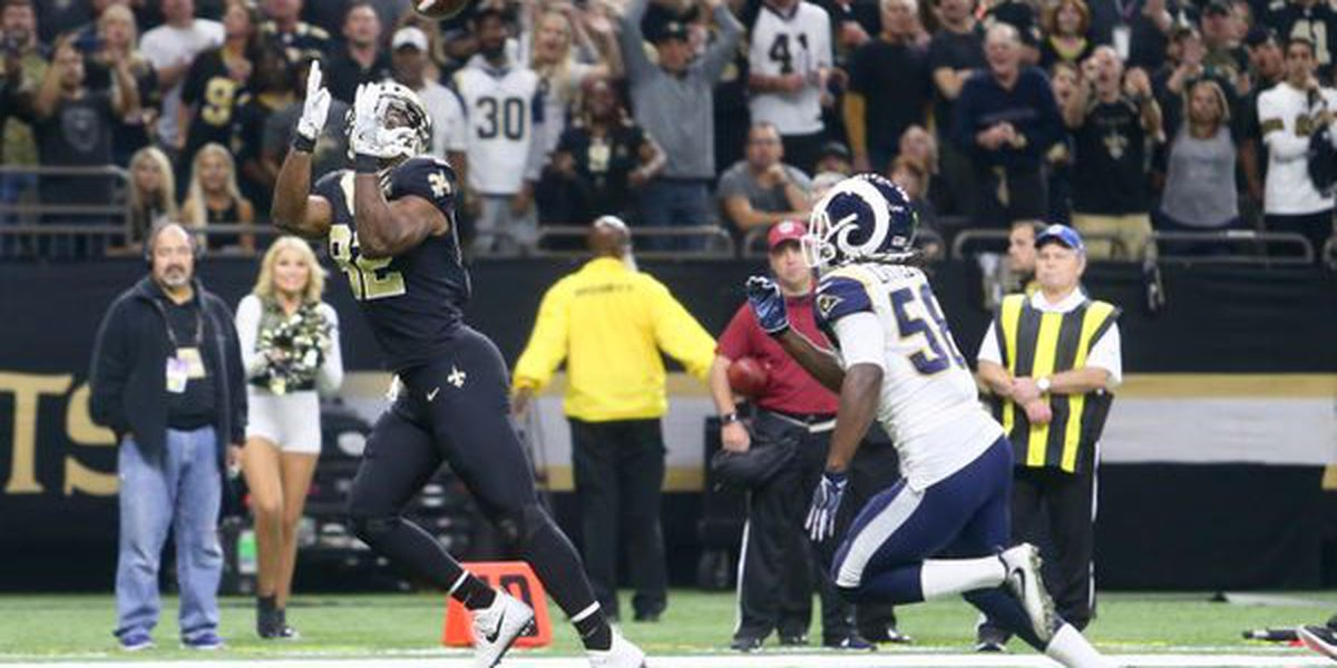 Saints' player makes baby announcement while celebrating touchdown against Rams